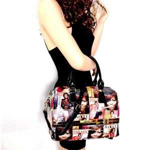 OBAMA MAGAZINE PRINT BOTTOM COMPARTMENT SATCHEL